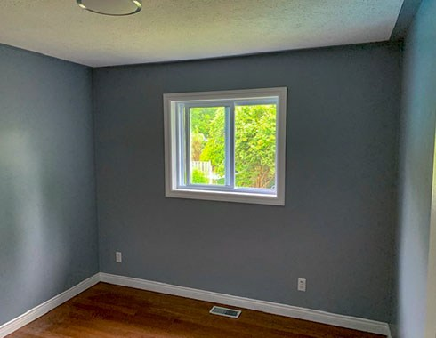 Residential room with installed windows