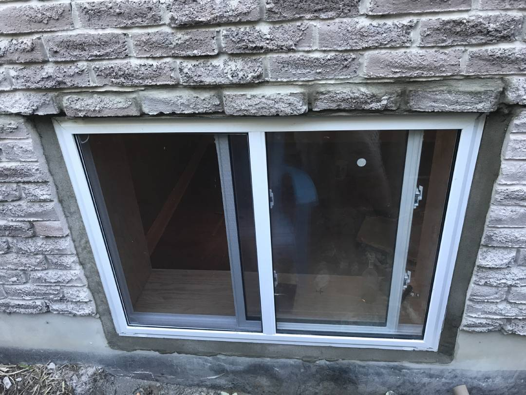Top view of a newly installed exterior window