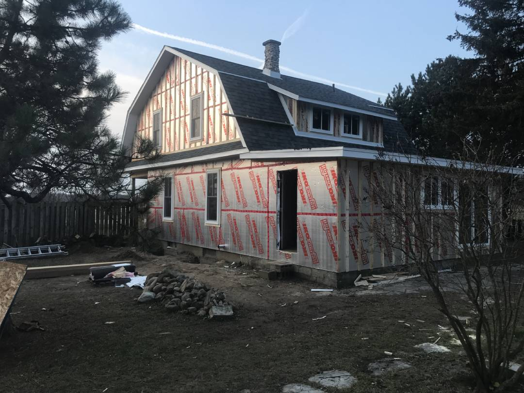 Side view of a house during renovation